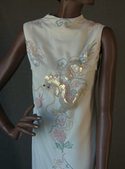 70s Vintage Long Sheath Dress Pastel Beaded Dragon Phoenix