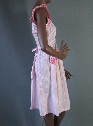 Vintage 40s Pinafore Sun Dress Pink Ruffled GIRLY M