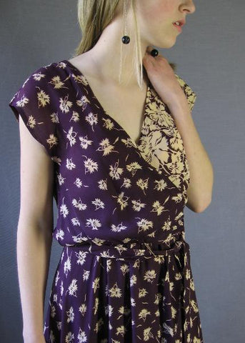 70s Vintage 30s Style Floral Print SEXY Wrapped Bodice