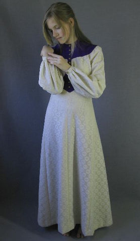70s Boho Maxi Dress Gown Lace and Purple Vintage SCA S XS