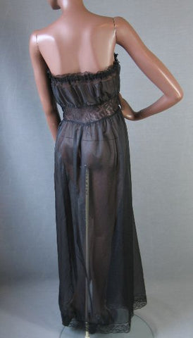 Vintage Strapless Lacy Nightgown Gown PEEKABOO Black L