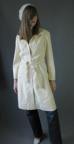 Vintage 70s Mod Trench Coat Spy Girl Samuel Robert White Ultra Suede M
