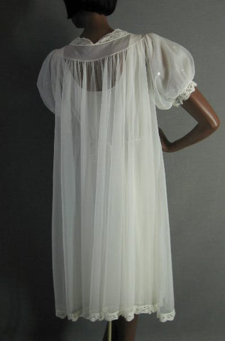 50s 60s Vintage Bridal Peignor Set Gown Robe Lacy Nylon M