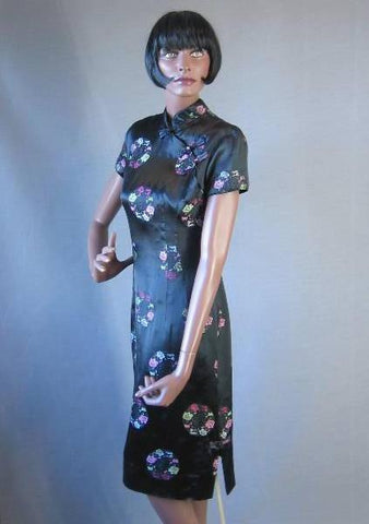 60s Alfred Shaheen Dress Vintage Cheong Sam Brocade Asian Style M