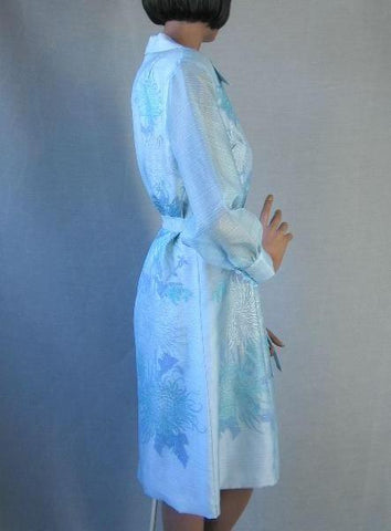 Shaheen Dress 60s Vintage Blue Chrysanthemum Screen Print M