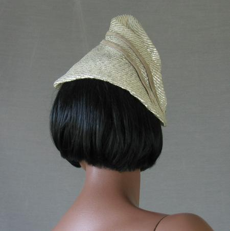 30s 40s Vintage Silver Whimsy Hat Conical Assymetrical