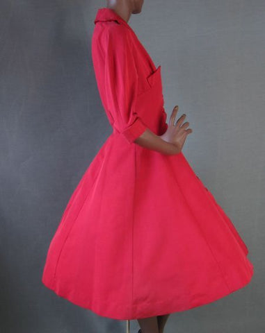 Suzy Perette 50s Cocktail Dress Vintage RED Full Skirt Party M