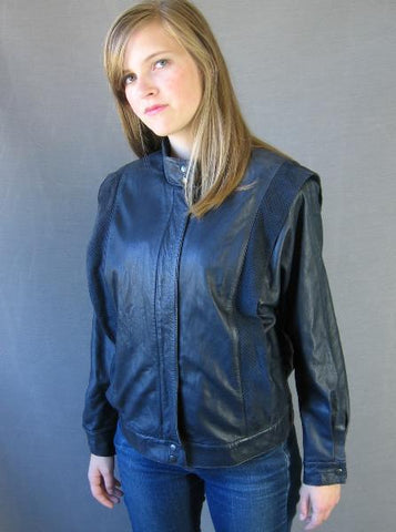 Thriller Inspired Jacket  80s Vintage Leather Cafe Racer M L Dark Blue