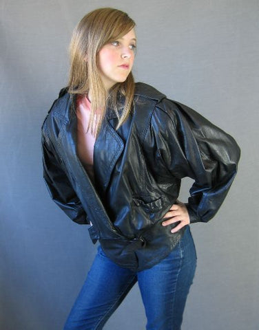 80s Vintage Bomber Style Black Leather Jacket L Over The Top