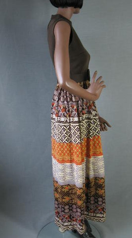 60s 70s Tribal Print Boho Maxi Dress Vintage Belted S M