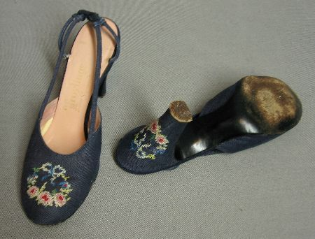 50s Slingback Heels Needlepoint Trim Vintage Shoes 7 8