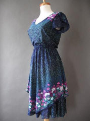 70s Vintage Tulip Sleeve Tiered Flutter Blue Floral Dress S