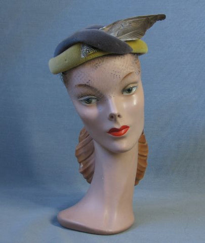Rose Valois Reproduction Hat Feather Wing 30s 40s Vintage