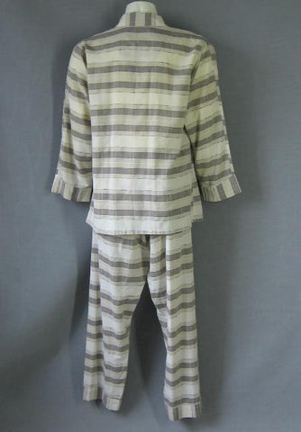 50s Vintage Mens Pajamas Shirt Pants Brown Plaid PJ Set M L