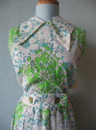 Vintage 60s Day Dress Print Pleated New Old Stock White Green Blue XL