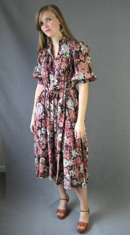 ROMANTIC 70s Vintage Young Edwardian Day Dress Floral Print S M