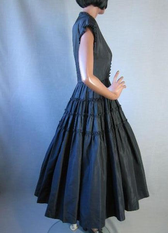 50s New Look Cocktail Dress Vintage Party Full Skirt Taffeta S M