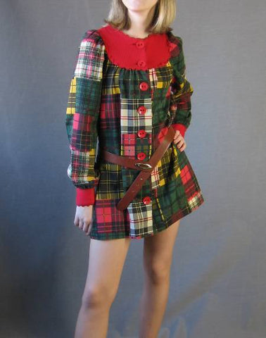 60s Vintage Arpeja School Girl DOLLY Tunic Mini Dress Plaid
