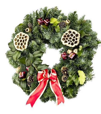 Decorated Real Christmas Wreath, 10 inch, from Pines and Needles