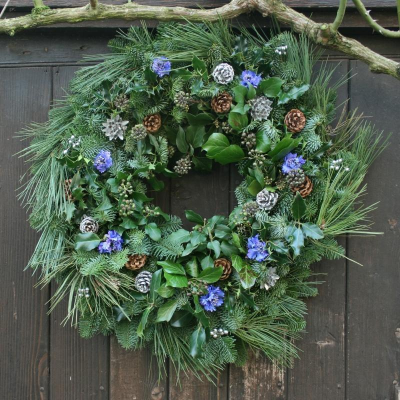 Blue Floral Real Christmas Wreath, 14inch, from Pines and Needles
