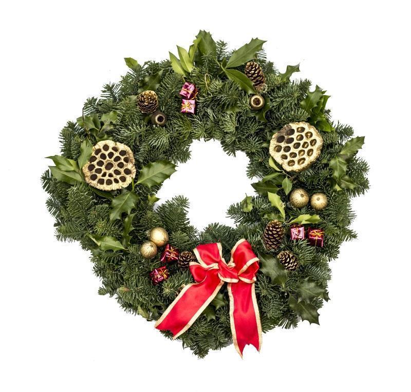 Decorated Real Christmas Wreath, 14inch, from Pines and Needles