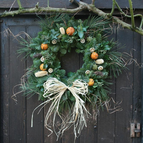 Luxury Real Christmas Wreath with Fruit, 14inch, from Pines and Needles