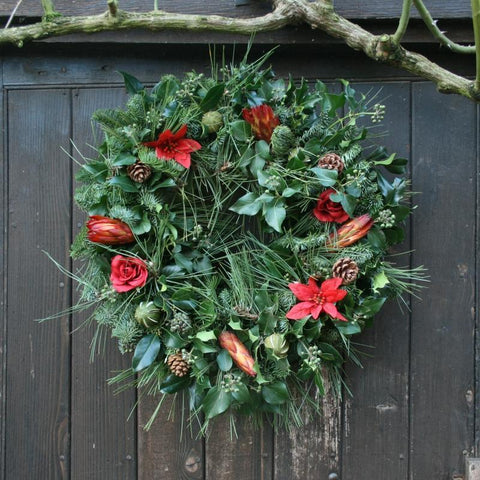 Red Floral Real Christmas Wreath, 14inch, from Pines and Needles