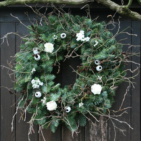 White Floral Real Christmas Wreath, 14inch, from Pines and Needles