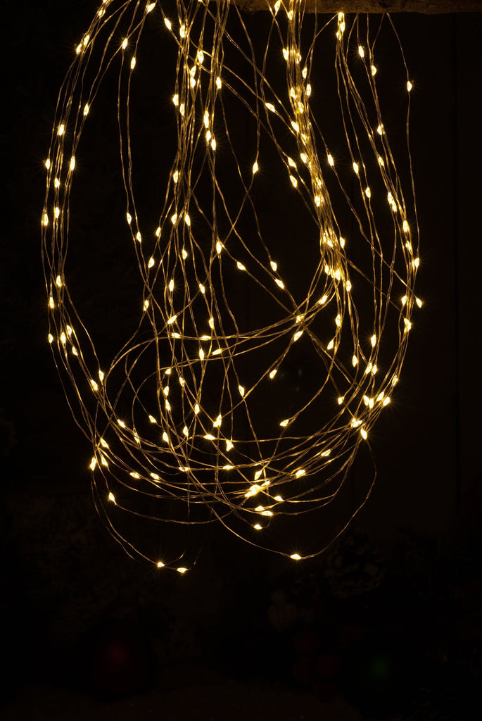 200 Dewdrop Branch Copper Wire Amber LED Christmas Lights from Pines and Needles