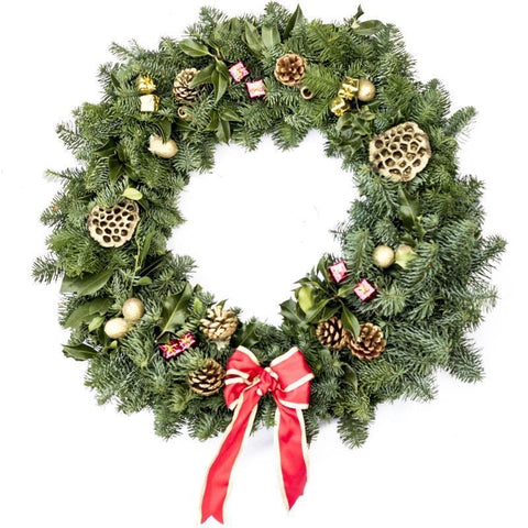 Decorated Real Christmas Wreath 20 inch from Pines and Needles