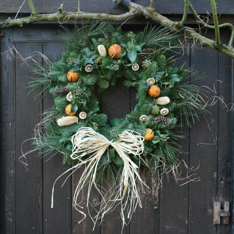 Luxury Real Christmas Wreath with Fruit, 20inch, from Pines and Needles