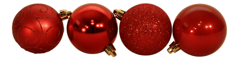 Multi Finish Shatterproof Baubles Red, Set of 24
