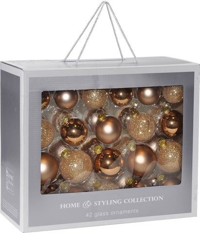 Copper Glass Christmas Decoration Pack, 42 Piece
