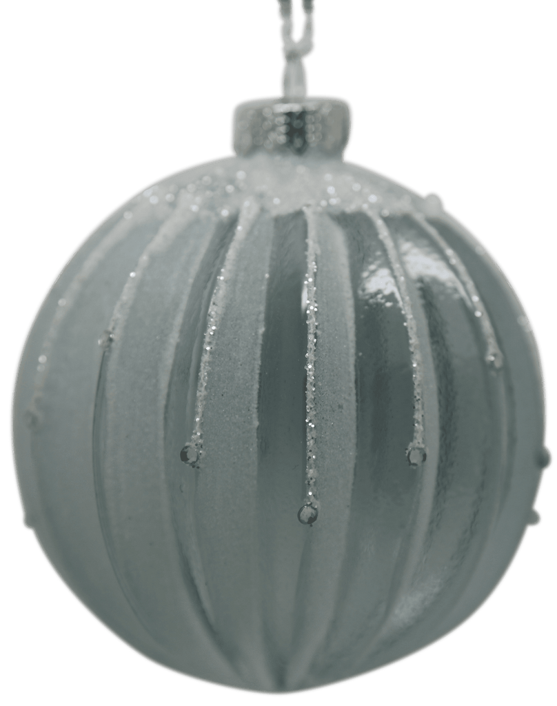 Frosted Night Ribbed Bauble