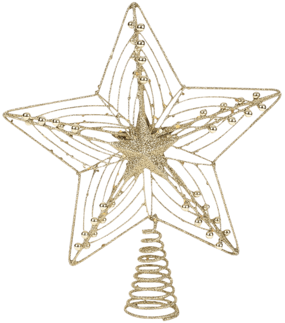 Christmas Tree Decoration Gold Laser Glitter Star Tree Topper