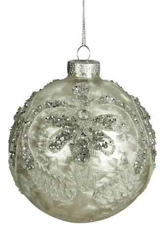 Christmas Tree Decoration Winter Light Beaded Bauble 10cm