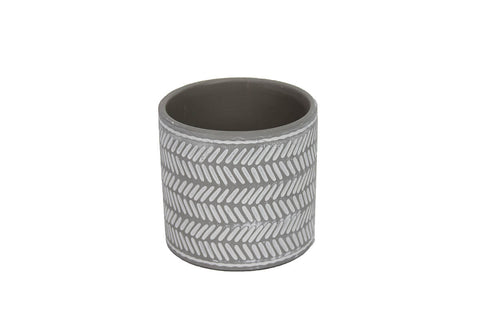 Gisela Graham Grey & White Chevron Mini Tree Pot Cover