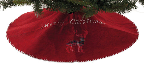 Tartan Reindeer Christmas Tree Skirt, 90cm