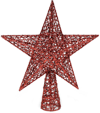 Christmas Red Glitter Tree Top Star