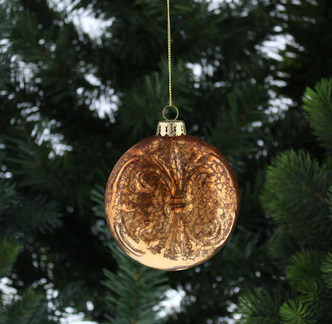 Christmas Tree Decoration Copper Fleur De Lis Ball