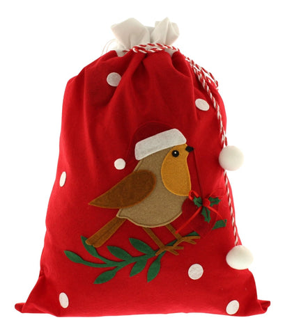 Christmas Tree Decoration Festive Robin Sack