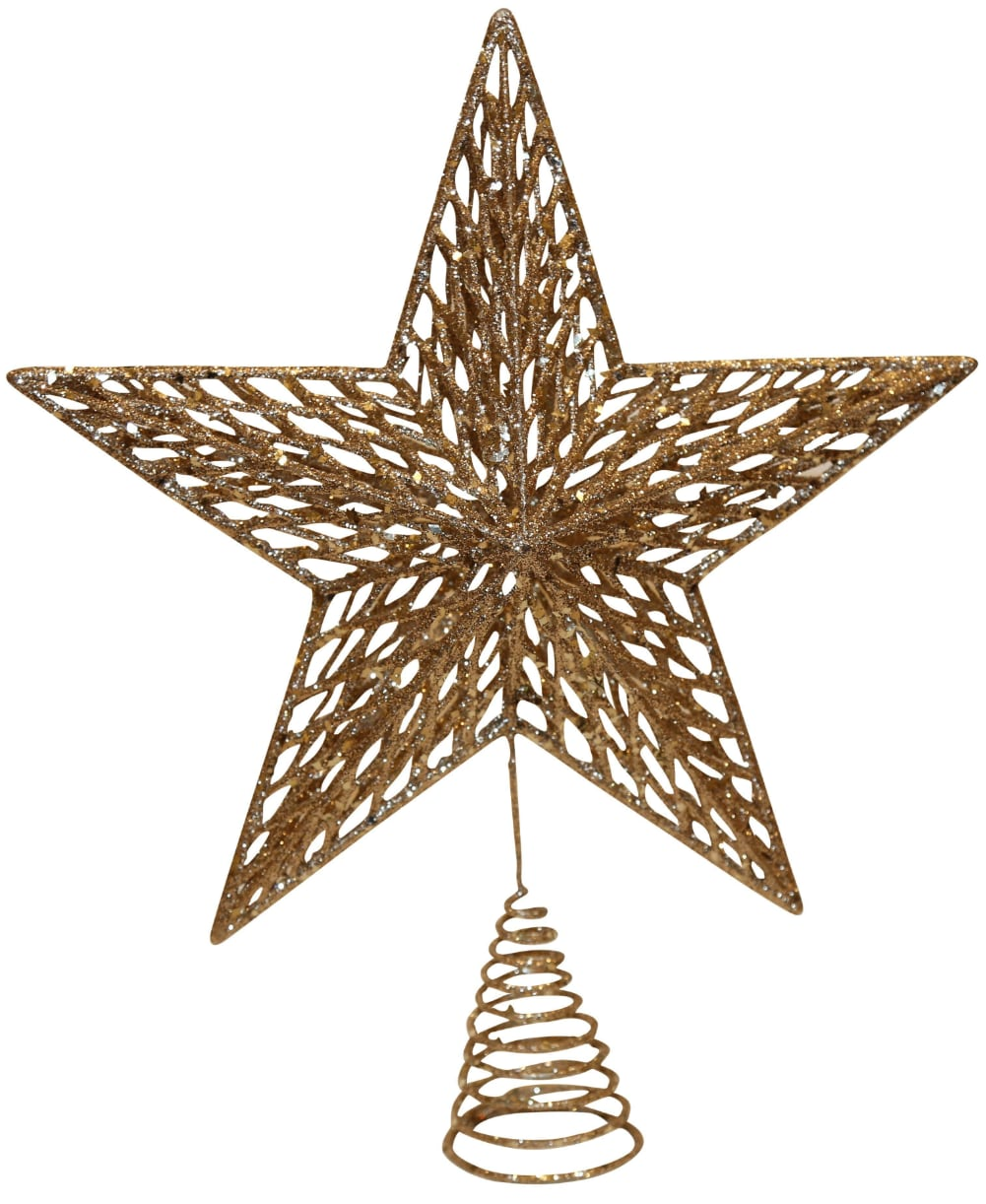 Christmas Tree Decoration Gold Glitter moulded tree top star