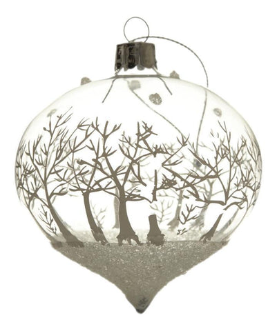 Christmas Tree Decoration Snow Scene Glass Drop