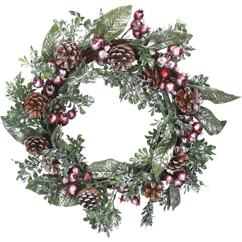 Gisela Graham Copper Dusted Red Berry & Pinecone Christmas Wreath