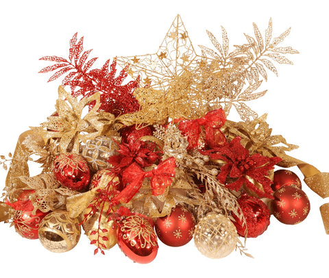 8ft Deluxe Christmas Tree Decoration Set in Red and Gold from Pines and Needles