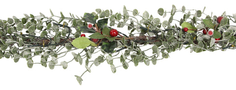 Gisela Graham Frosted Eucalyptus & Red Berry LED Christmas Garland
