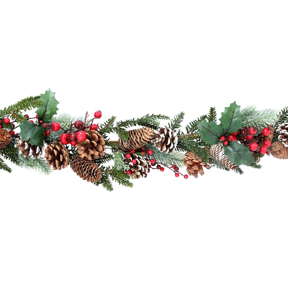Gisela Graham Red Berry and Snowy Cone Garland from Pines and Needles