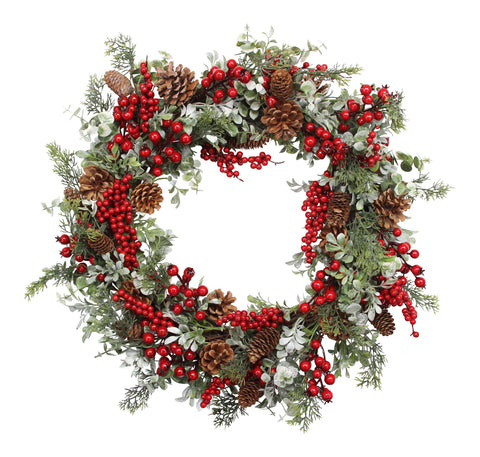 Gisela Graham Red Berry Fir Christmas Wreath