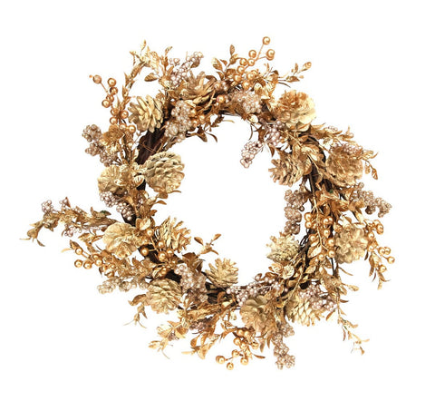 Gisela Graham Gold Leaf & Berry Christmas Wreath