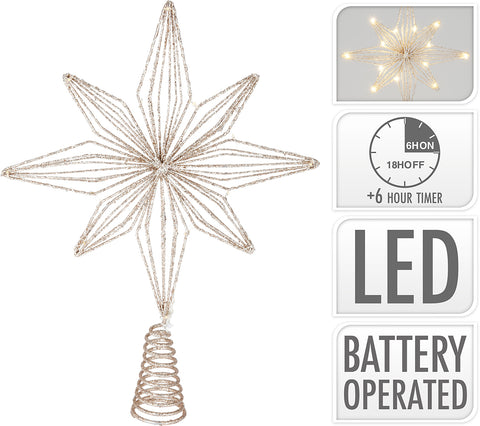 Golden Star LED Tree Topper